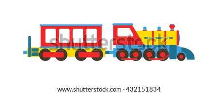 Cartoon toy train with colorful blocks isolated over white and toy train vector set. Toy train color railroad and cartoon carriage game toy train fun leisure joy gift. Locomotive transportation set. - stock vector