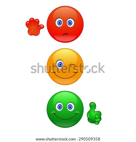 Cartoon traffic lights on the white background - stock vector