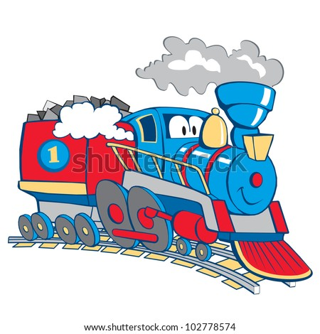 cartoon train isolated on the white background, vector, illustration - stock vector