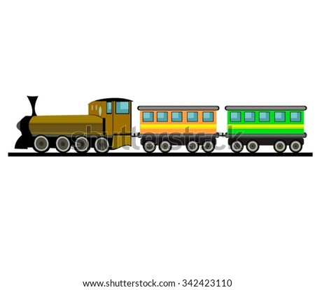 Cartoon Train Isolated Whit White Background - stock vector