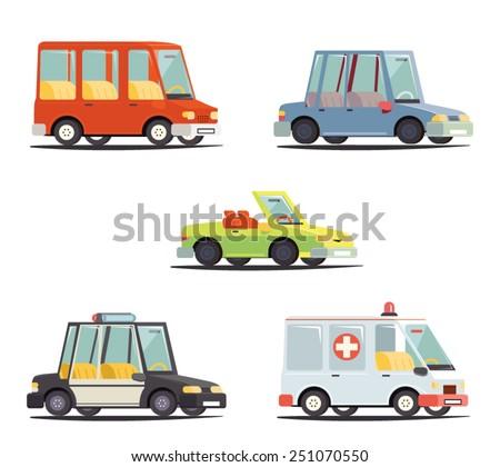 Cartoon Transport Car Vehicle Icon Design Stylish Retro Flat Vector Illustration - stock vector
