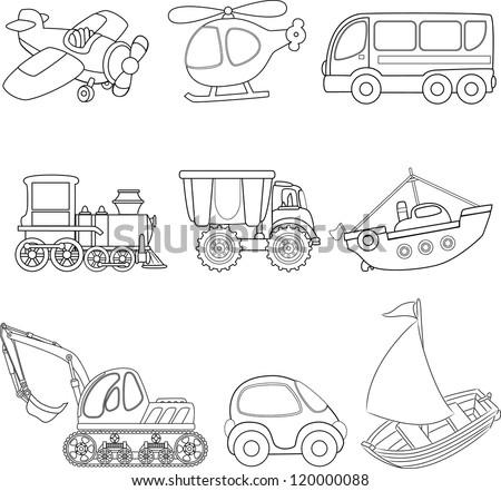 Cartoon transport. Coloring book. - stock vector