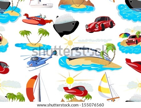 Cartoon transport seamless background, vector illustration - stock vector