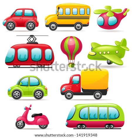 Cartoon transport set - stock vector