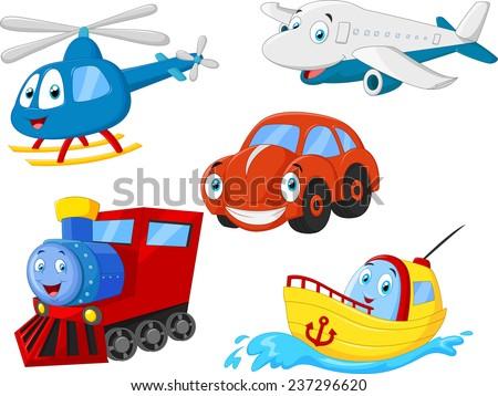 Cartoon transportation collection - stock vector