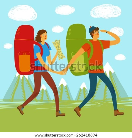 Cartoon traveler girl and boy with a large backpacks and mountains on background. Backpacker illustration  - stock vector
