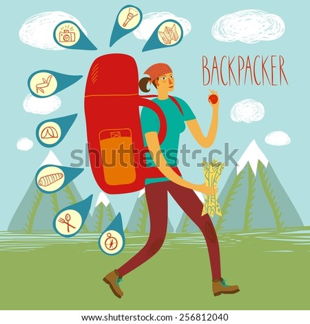 Cartoon traveler girl with a large backpack and mountains on background. Backpacker illustration  - stock vector