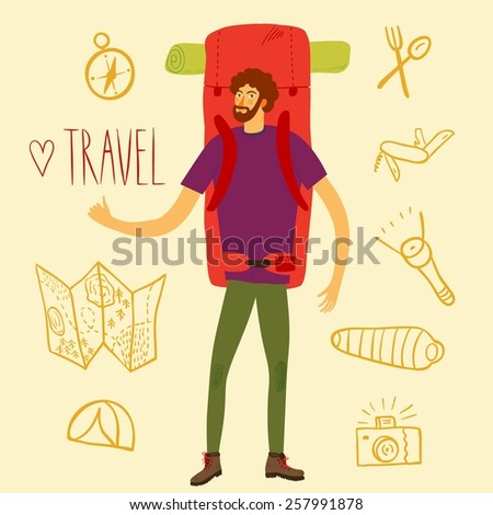 Cartoon traveler hitchhiker with a large backpack and  and doodle drawings including map, flashlight, camera, knife, sleeping bag, tent, compass. Backpacker illustration  - stock vector