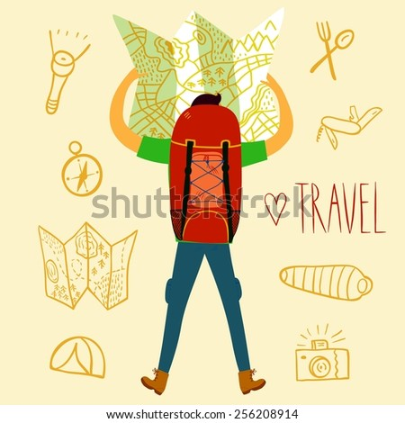 Cartoon traveler holding map with a large backpack and doodle drawings including map, flashlight, camera, knife, sleeping bag, tent, compass. Backpacker illustration  - stock vector