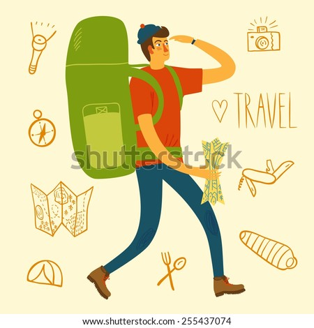 Cartoon traveler with a large backpack and doodle drawings including map, flashlight, camera, knife, sleeping bag, tent, compass. Backpacker illustration  - stock vector