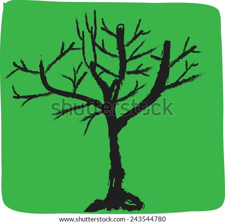 cartoon  tree icon isolated on green background, simple vector concept - stock vector