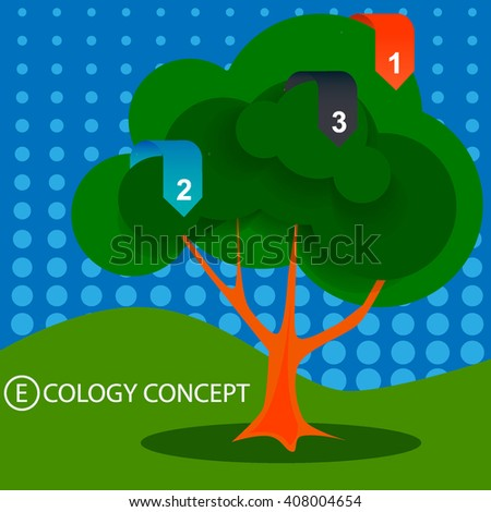 Cartoon tree, infographics ecological preservation of nature - stock vector