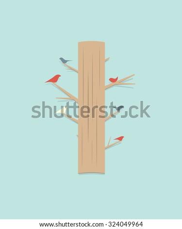 cartoon tree with birds - stock vector