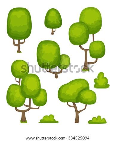 Cartoon Trees - stock vector