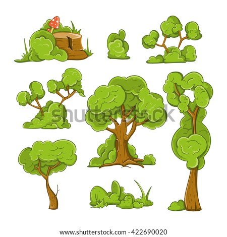 Cartoon trees and bushes vector set. Plant tree, bush and green tree, forest tree illustration - stock vector