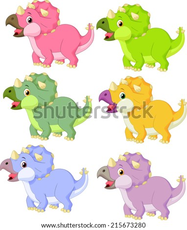 Cartoon triceratops in different color - stock vector
