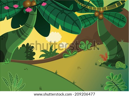 Cartoon Tropical Forest