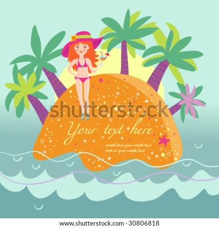 Cartoon tropical island - stock vector