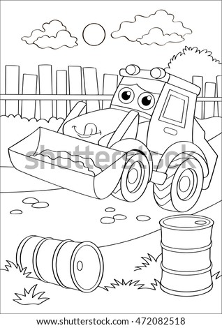 cartoon truck car in village forklift coloring page coloring book outdoor sport theme