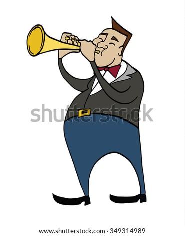 Cartoon Trumpeter Musician Playing Trumpet Clipart Stock Vector ...