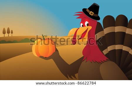 Cartoon Turkey Picking a pumpkin EPS 8 vector, with no open shapes, strokes or transparencies. Grouped for easy editing. - stock vector