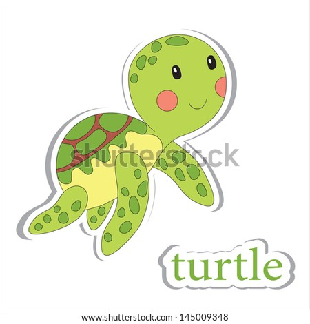 Cartoon turtle isolated on white. Coloring book. Vector illustration. - stock vector