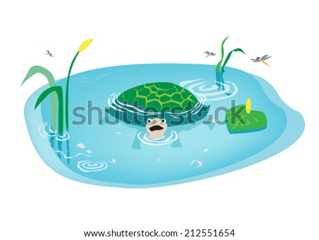 Cartoon Turtle swimming in Swamp. Drawing for Kids. - stock vector