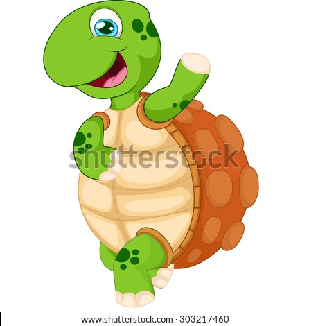 Cartoon turtle waving hand, isolated vector on white  - stock vector
