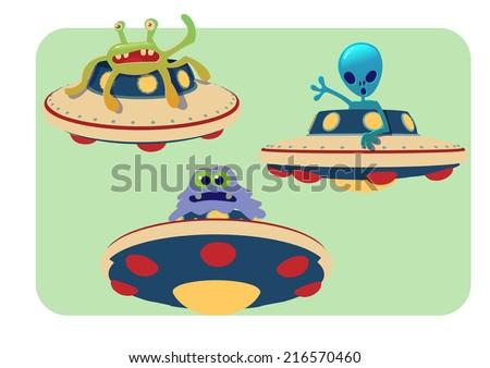 cartoon UFO and alien hand drawn vector illustration - stock vector
