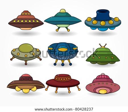 cartoon ufo spaceship icon set - stock vector