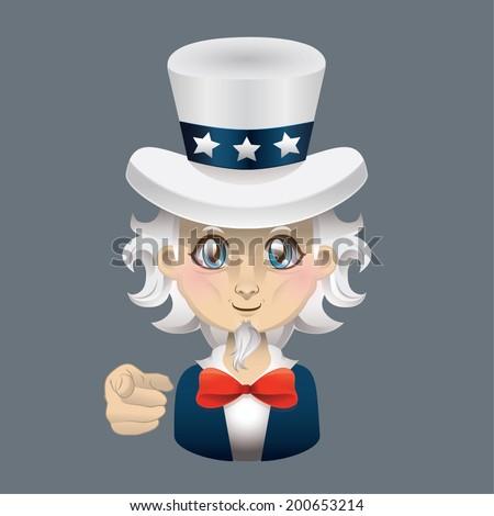 Cartoon Uncle Sam illustration - stock vector