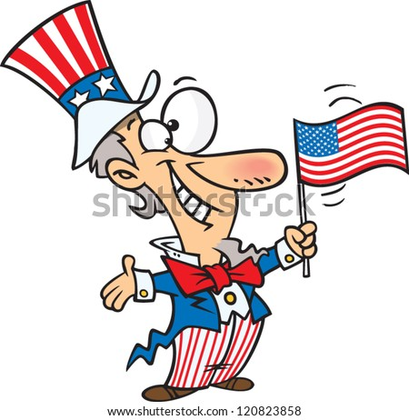 cartoon uncle sam waving and american flag