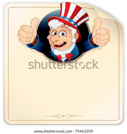 Cartoon Uncle Sam with Blank Paper Sign, ready for your design - stock vector