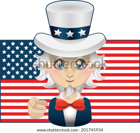 Cartoon Uncle Sam with USA flag in the background - stock vector