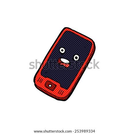 cartoon unhappy mobile phones - stock vector