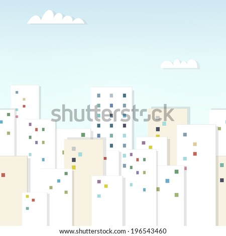 cartoon urban landscape under clouds. seamless paper pattern - stock vector