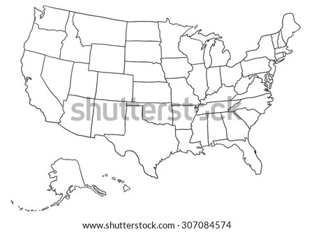 Cartoon USA map - stock vector