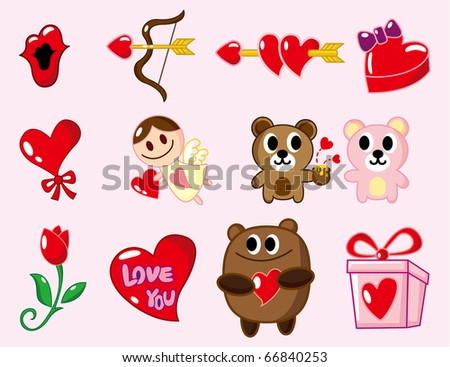 cartoon Valentine's Day - stock vector