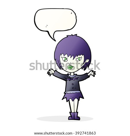 cartoon vampire girl with speech bubble