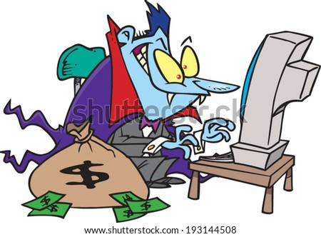 cartoon vampire with a bag of money on the computer