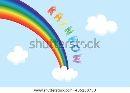 Cartoon vector background with sky, rainbow and clouds