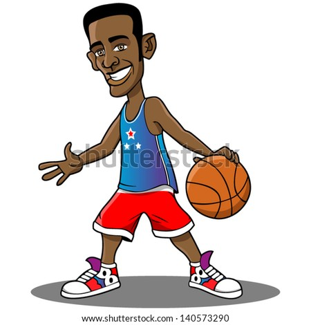 Cartoon vector basketball player. - stock vector
