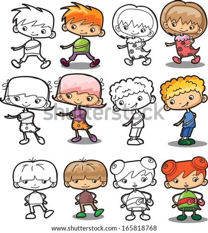Cartoon vector boys and girls - stock vector