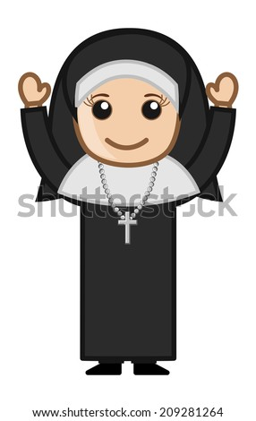 Cartoon Vector Character - Happy Religious Nun - stock vector