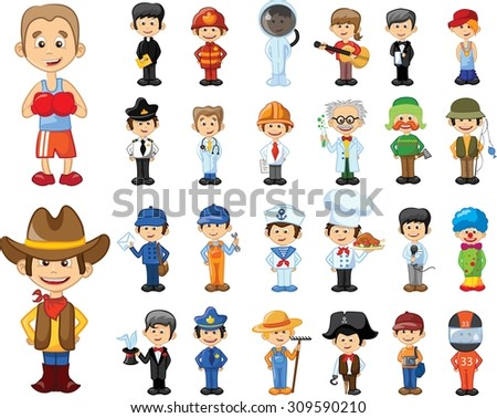 Cartoon vector characters of different professions  - stock vector