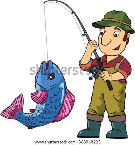 Cartoon fisherman fishing - photo#13