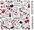 Cartoon vector design illustration of  random assorted things seamless background - stock