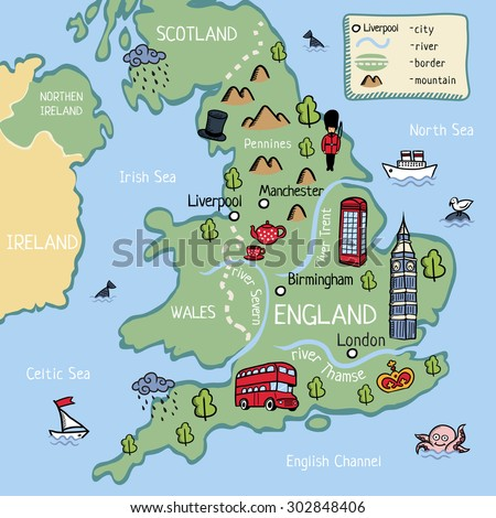 cartoon vector doodle map of england for kids for tourist guide or children book