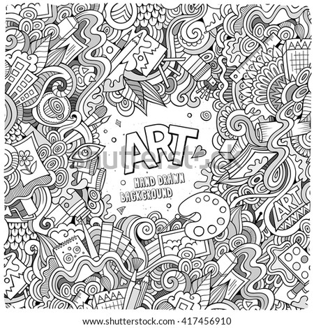 Cartoon vector doodles hand drawn art and craft frame background - stock vector