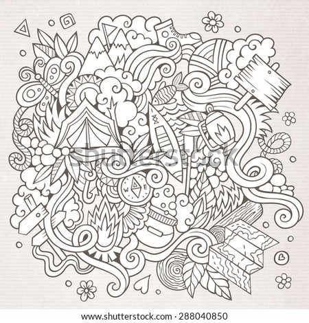Cartoon vector doodles hand drawn camping background - stock vector